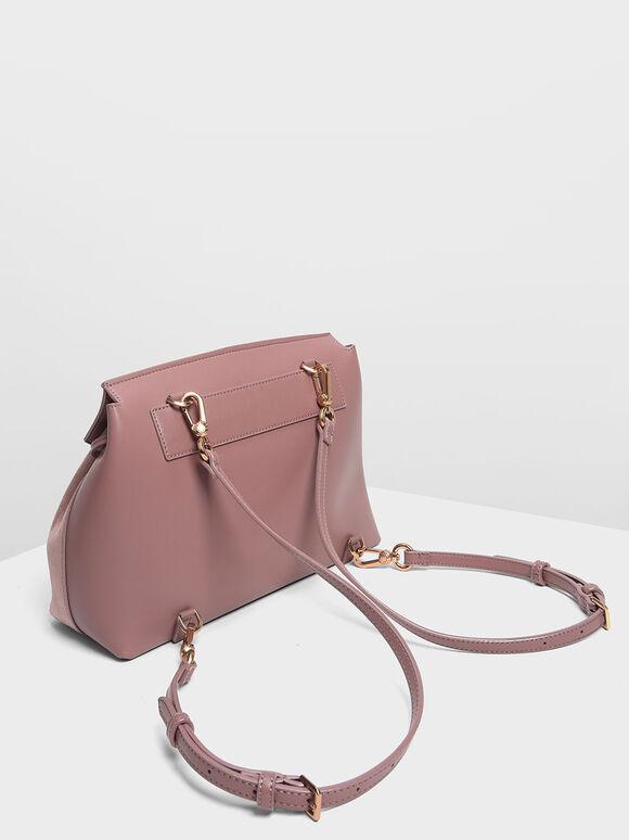 Tassel Detail Front Flap Backpack, Mauve, hi-res