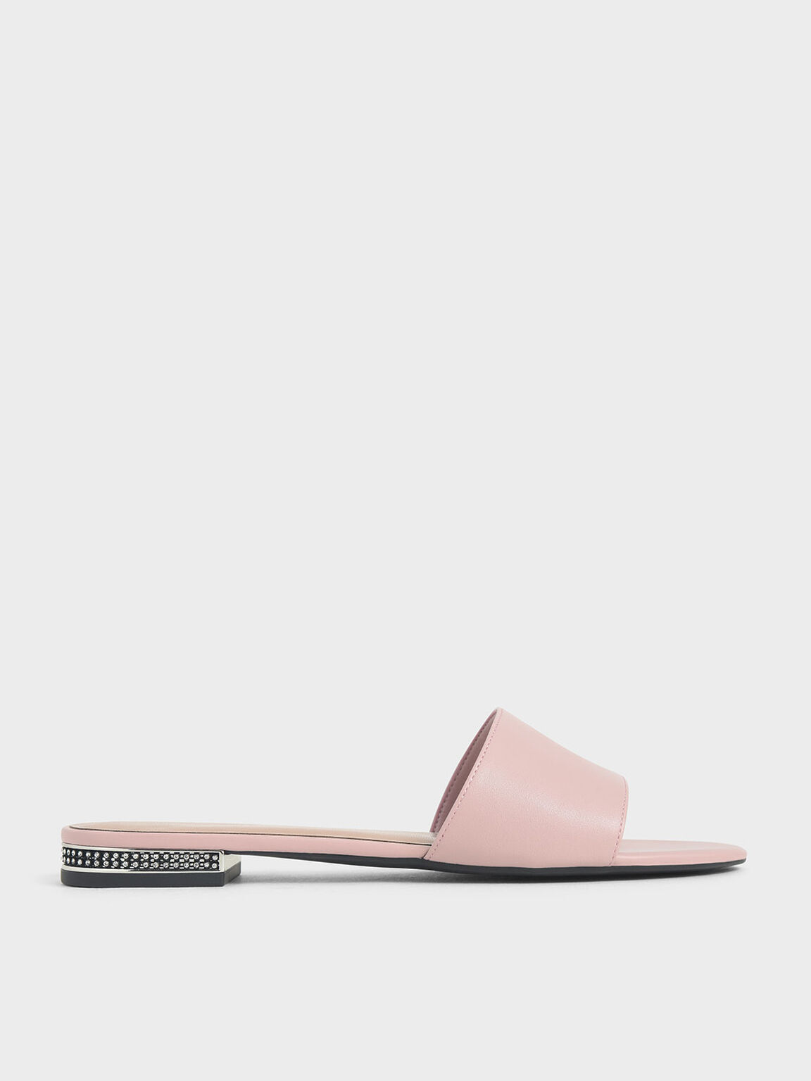 Gem-Encrusted Heel Slide Sandals, Pink, hi-res