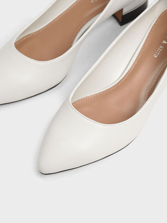 Classic Pointed Toe Pumps, Chalk