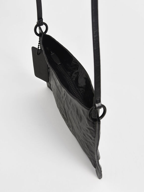 Crumpled-Effect Zip Clutch, Black, hi-res