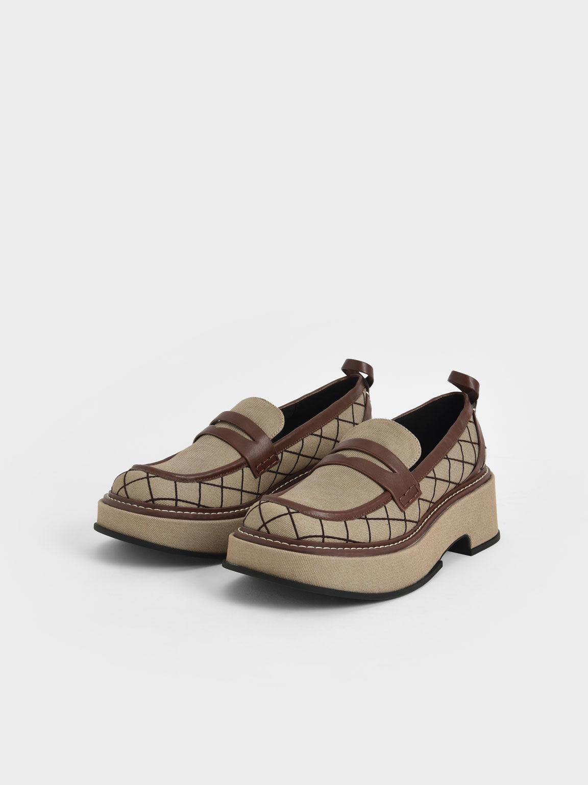 Frankie Grid-Print Platform Penny Loafers, Brown, hi-res