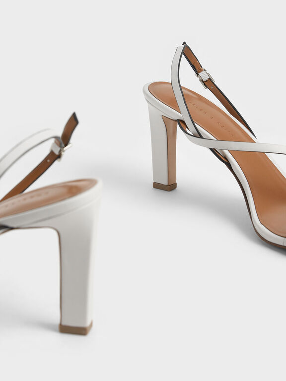 Asymmetric Strap Open Toe Sandals, White