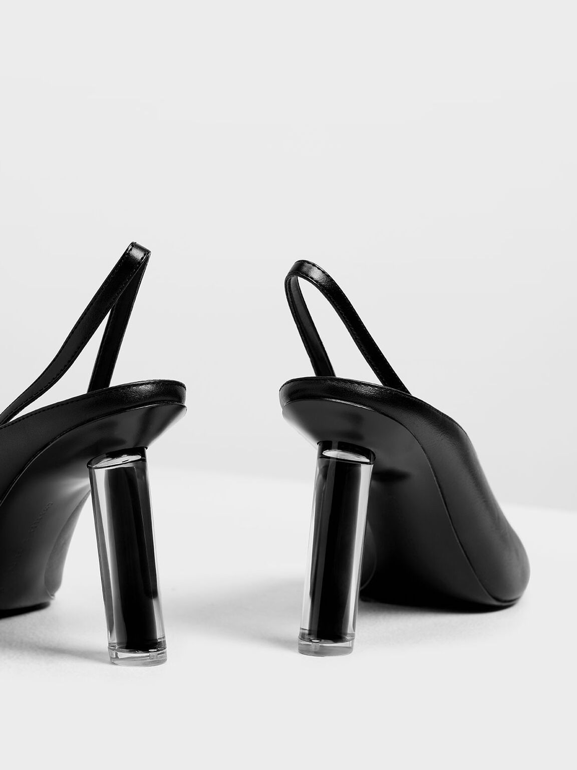 V-Cut Sculptural Heel Slingbacks, Black, hi-res