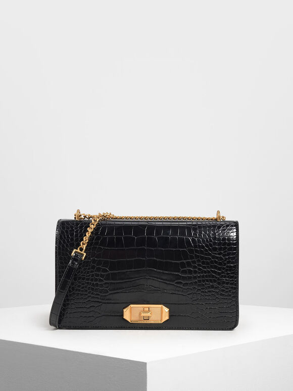 Croc-Effect Turn-Lock Crossbody, Black Textured, hi-res