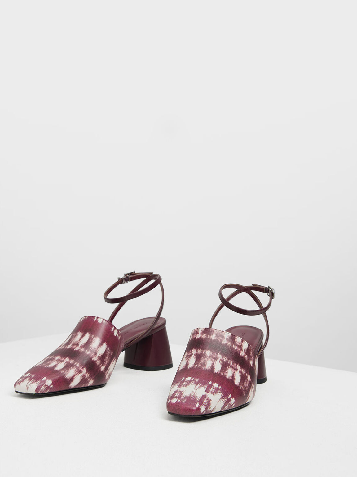 Closed Toe Block Heel Printed Sandals, Burgundy, hi-res
