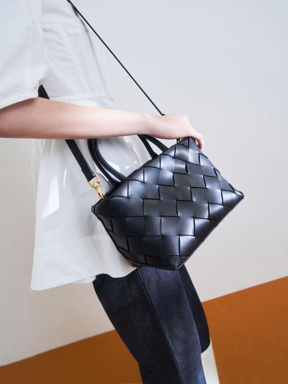 Woven Tote Bag, Black, hi-res