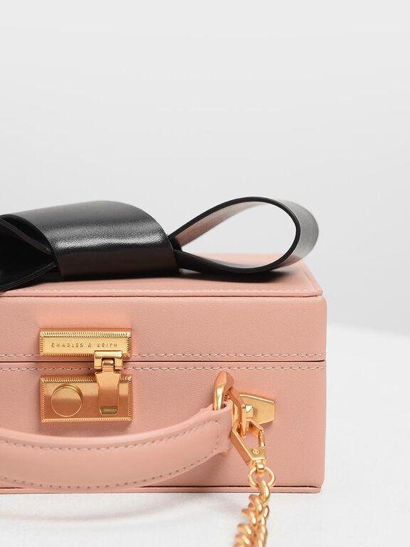 Ribbon Push-lock Bag, Pink