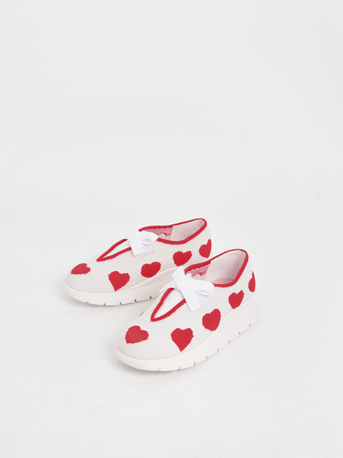 Girls' Heart Print Knitted Sneakers, White, hi-res