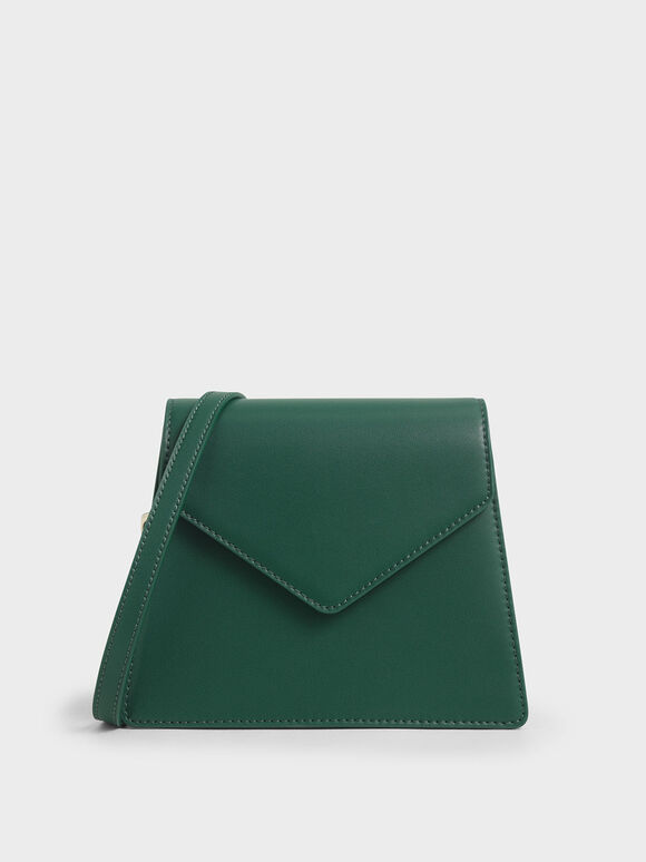 Satin Angular Crossbody Bag, Dark Green, hi-res