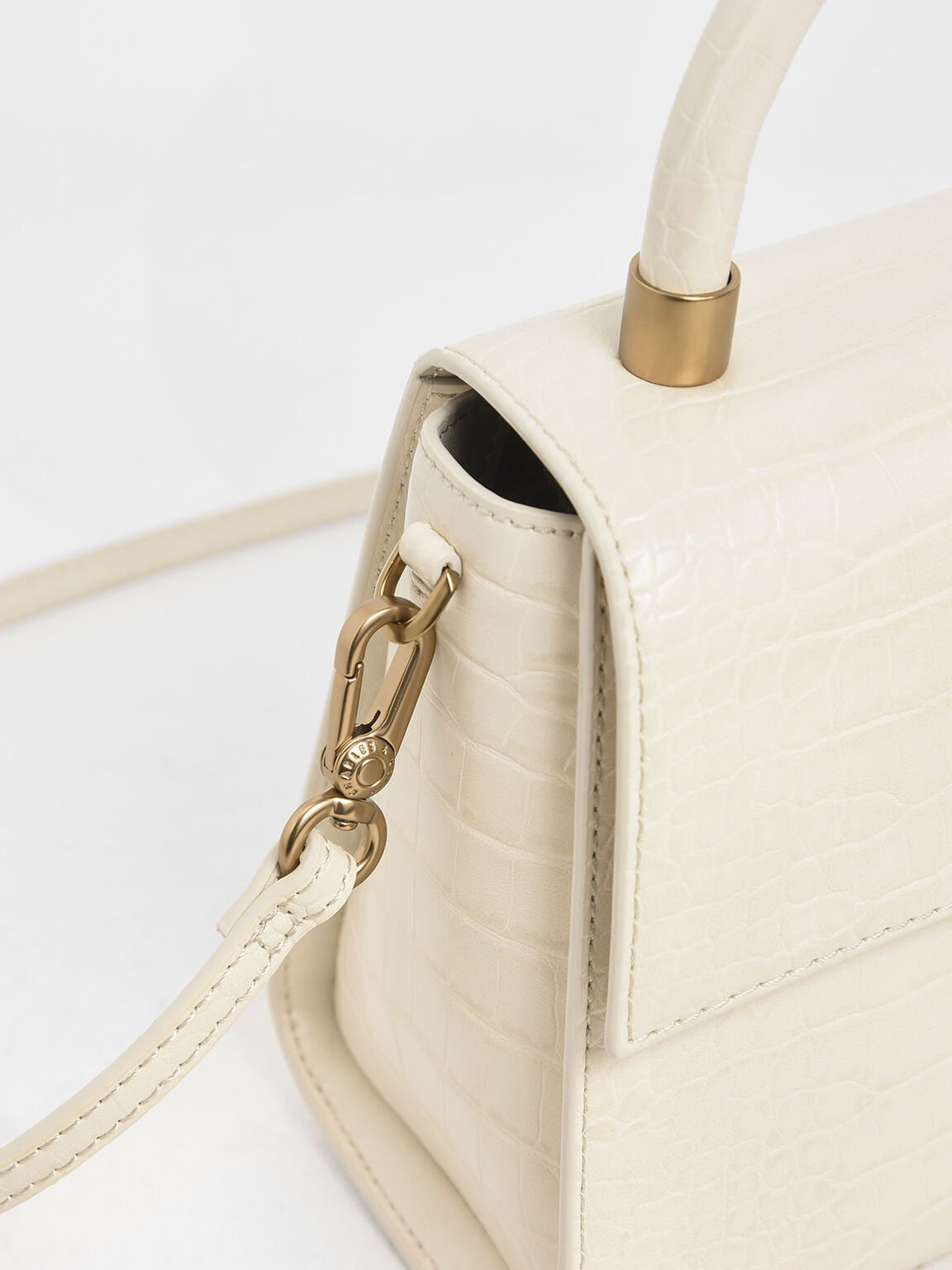 Croc-Effect Structured Bag, Cream, hi-res