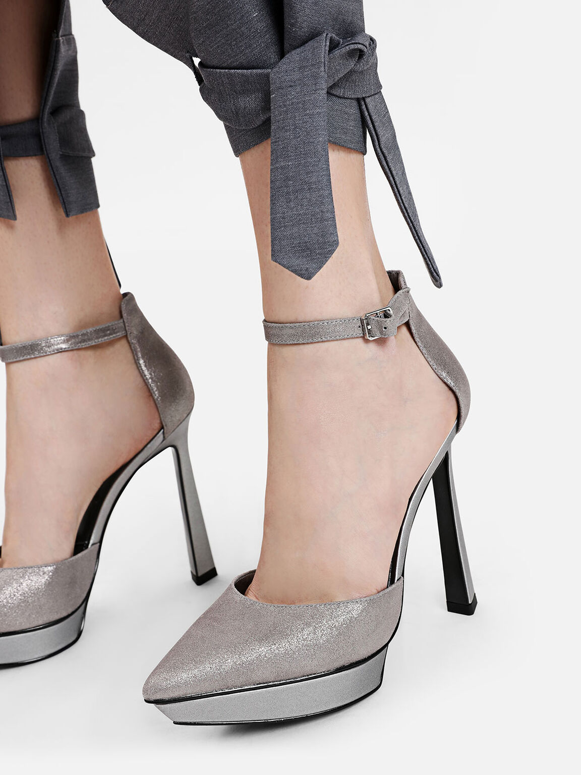Pointed Leather Heels, Silver, hi-res