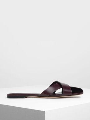 Asymmetrical Strap Slide Sandals, Burgundy