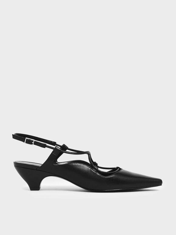 Criss Cross Slingback Kitten Block Heels, Black, hi-res
