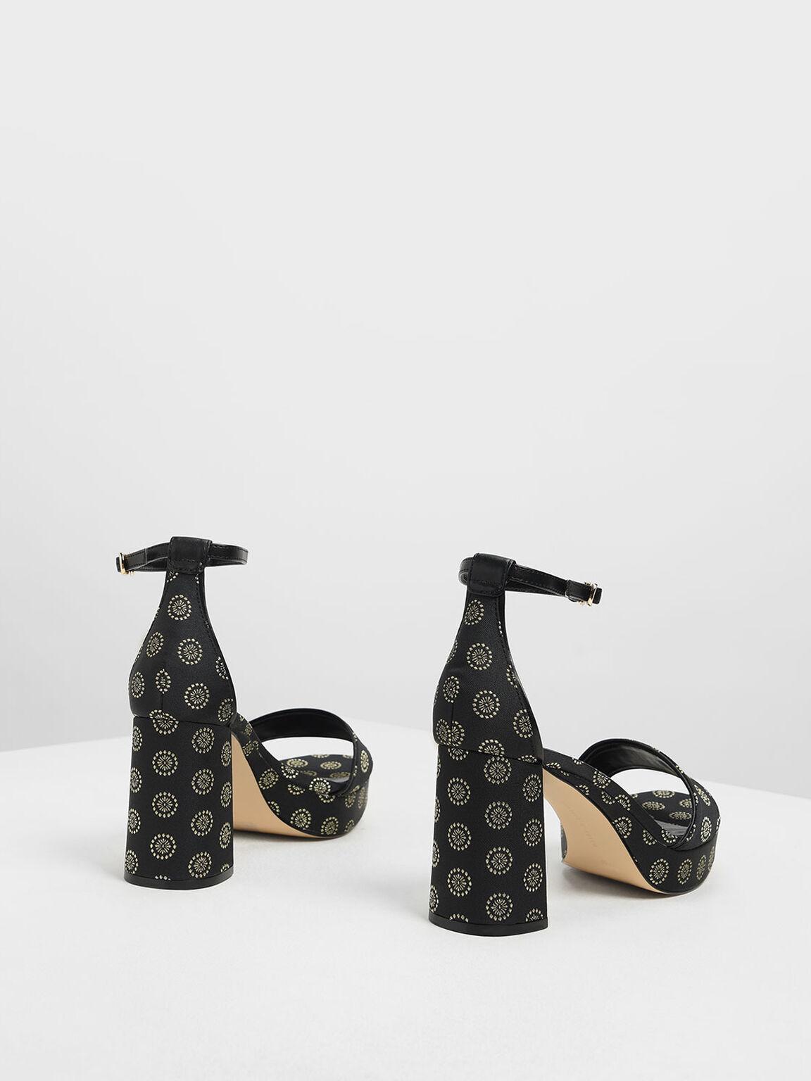 Motif Chunky Platform Heels, Black Textured, hi-res