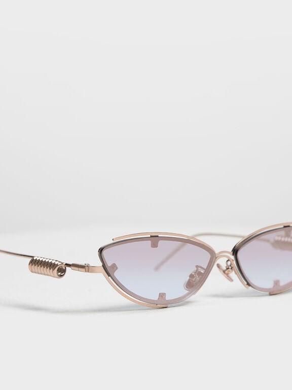 Double Frame Cat-Eye Sunglasses, Rose Gold
