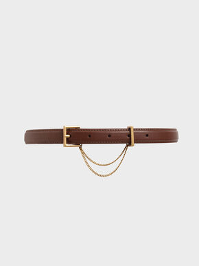 Chain Link Mid Waist Belt, Brown