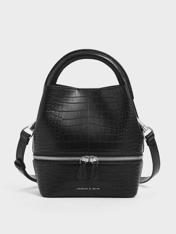 Croc-Effect Two-Way Zip Bucket Bag, Black Textured, hi-res