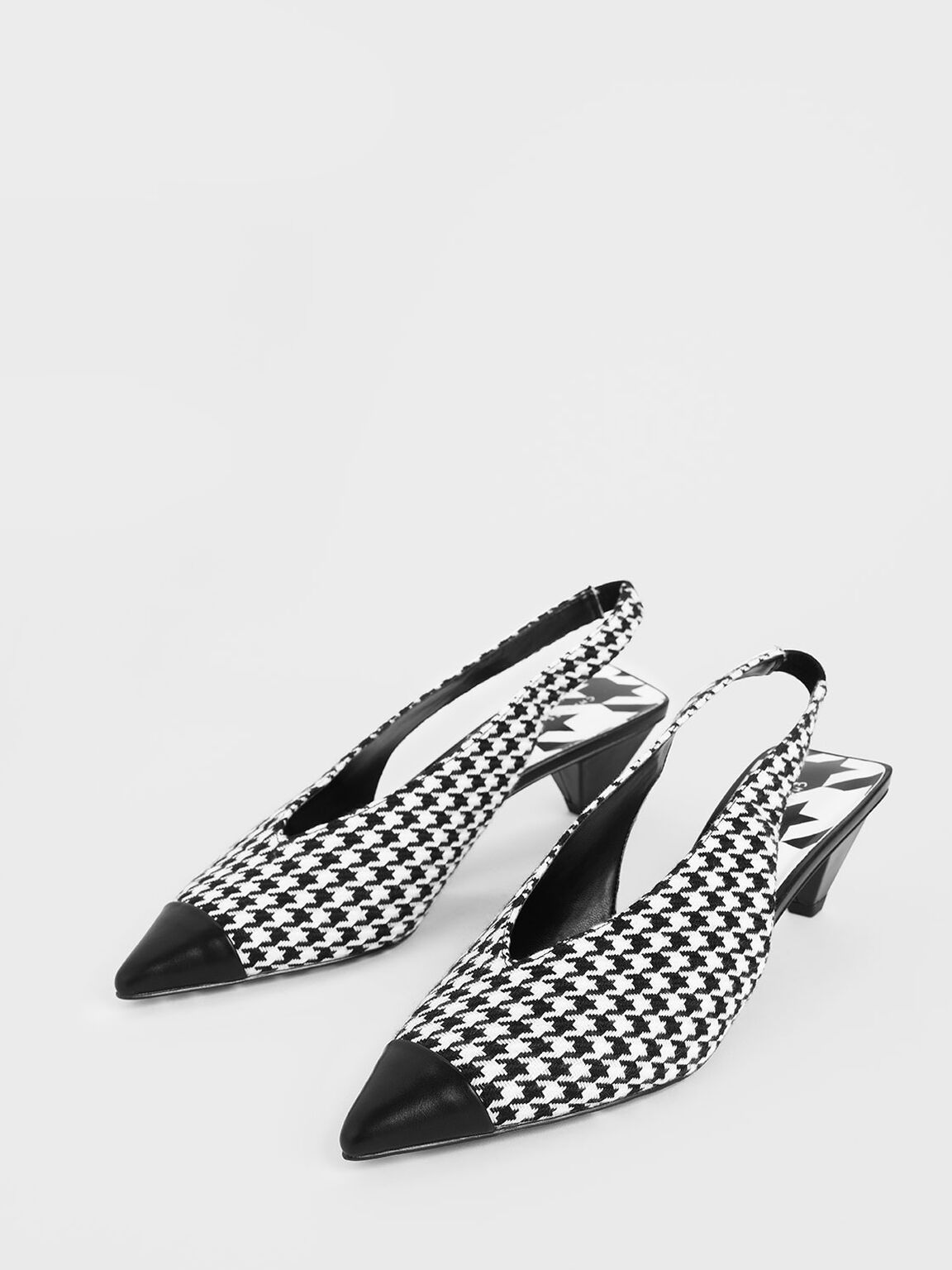 Houndstooth Print Woven Fabric Slingback Heels, Multi, hi-res