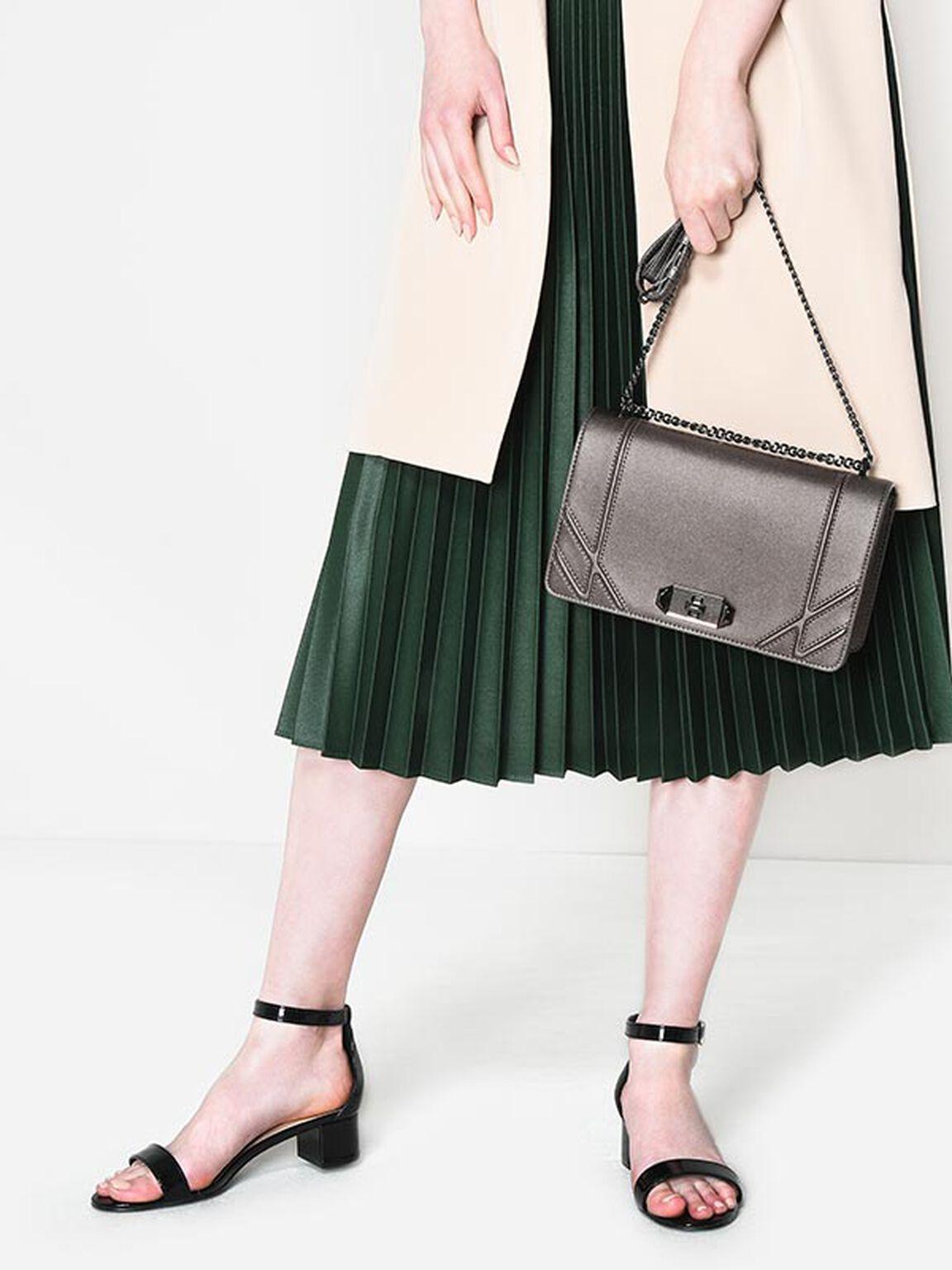 Geometric Design Shoulder Bag, Pewter, hi-res