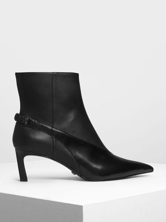 真皮拼接短靴, 黑色, hi-res