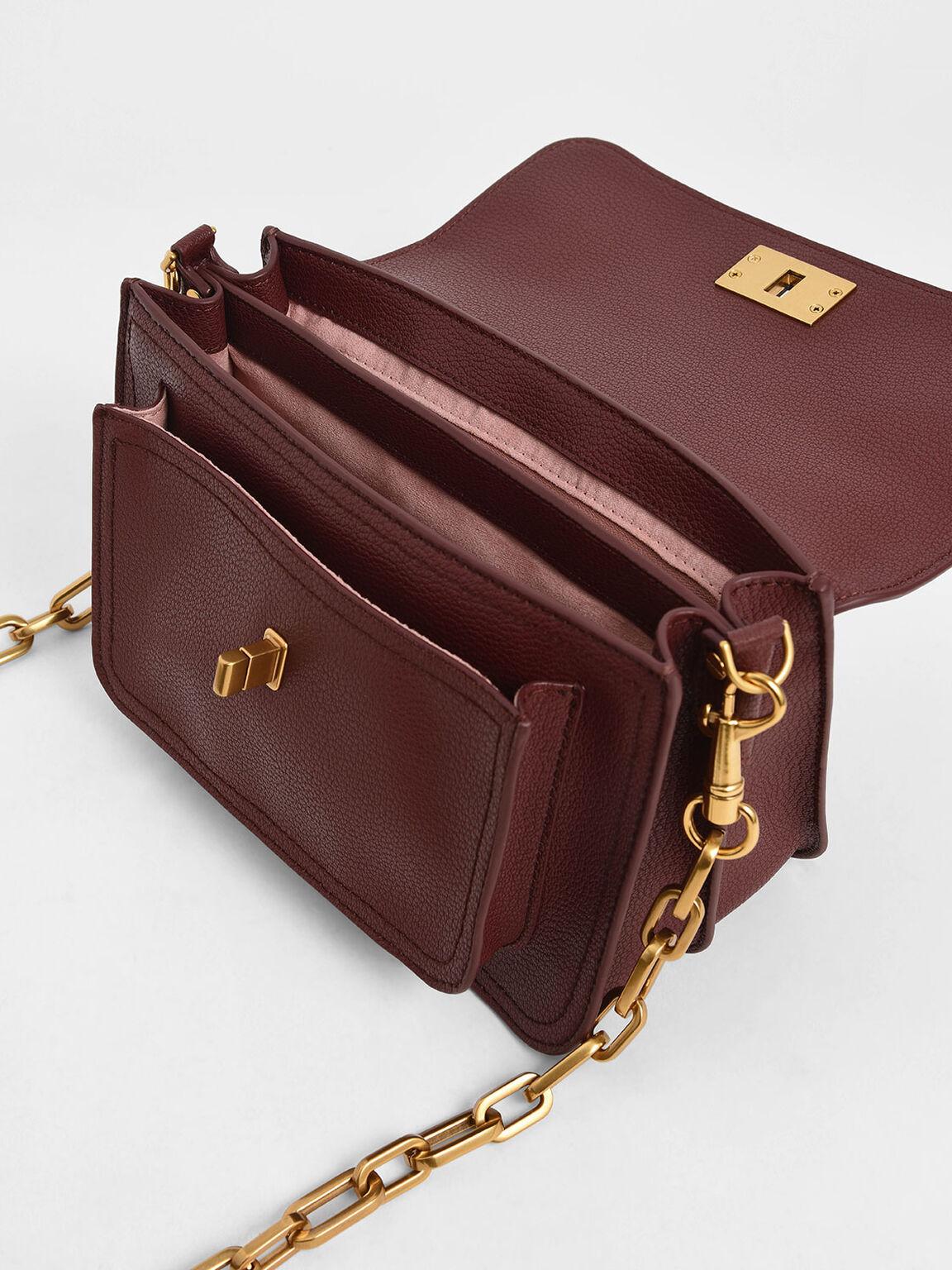 Resin-Effect Buckle Handbag, Burgundy, hi-res