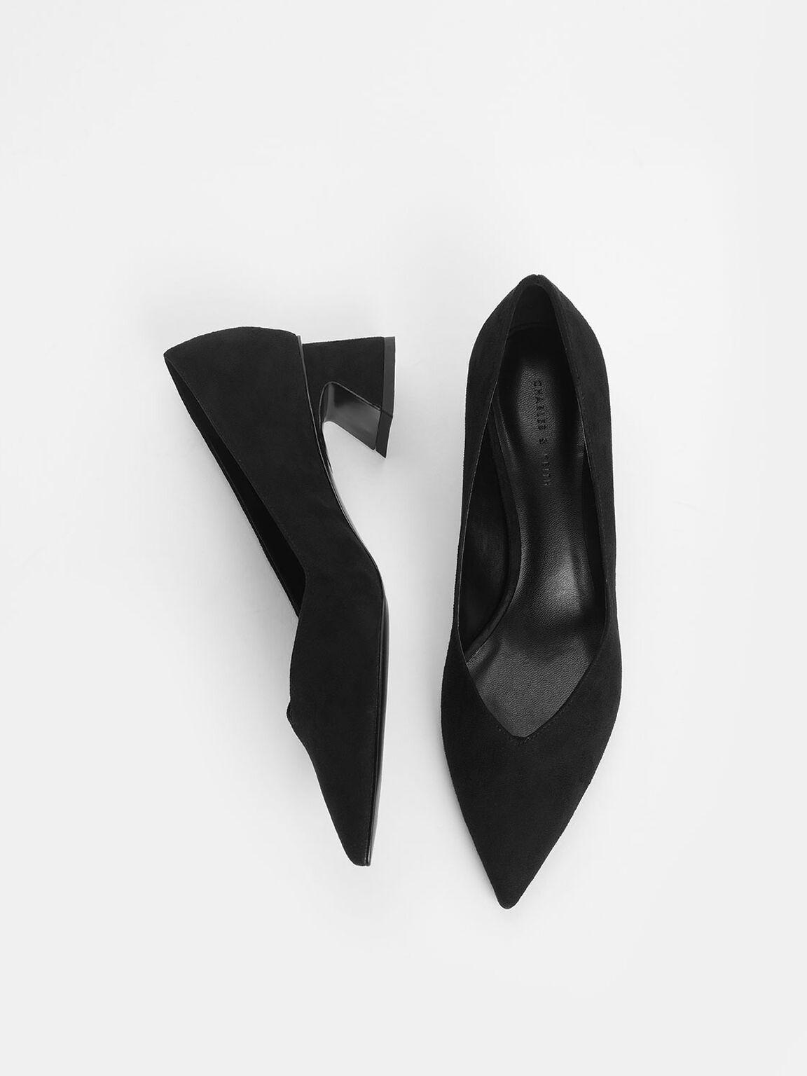 復古粗跟鞋, 黑色, hi-res