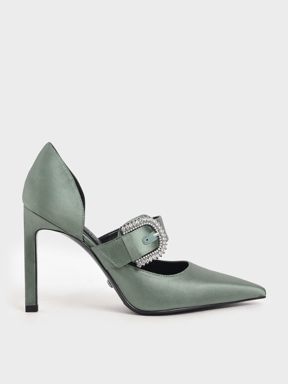 Satin Embellished Buckle Mary Jane Heels, Sage Green, hi-res