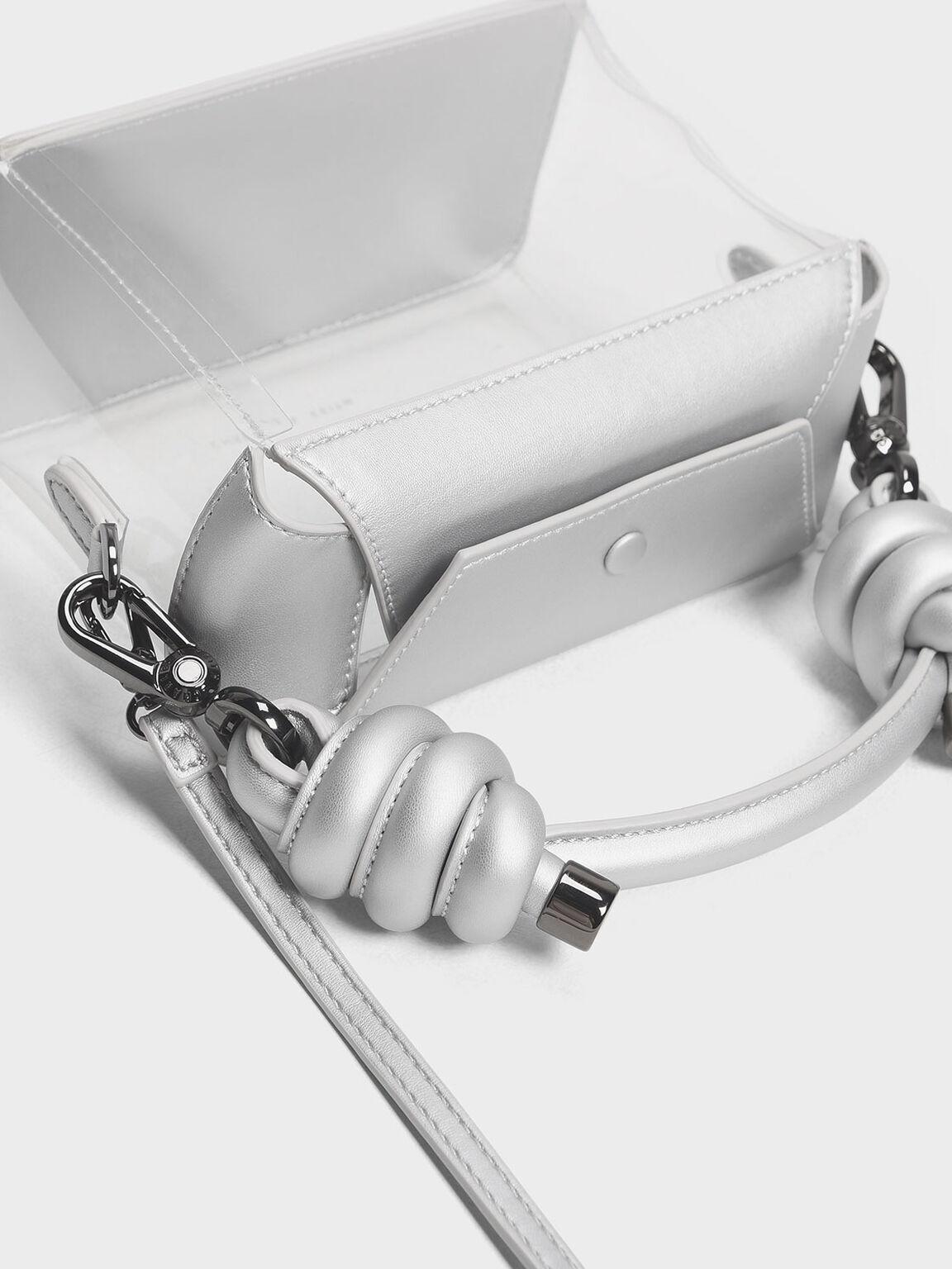 Knot Detail Handle See Through Bag, Silver, hi-res