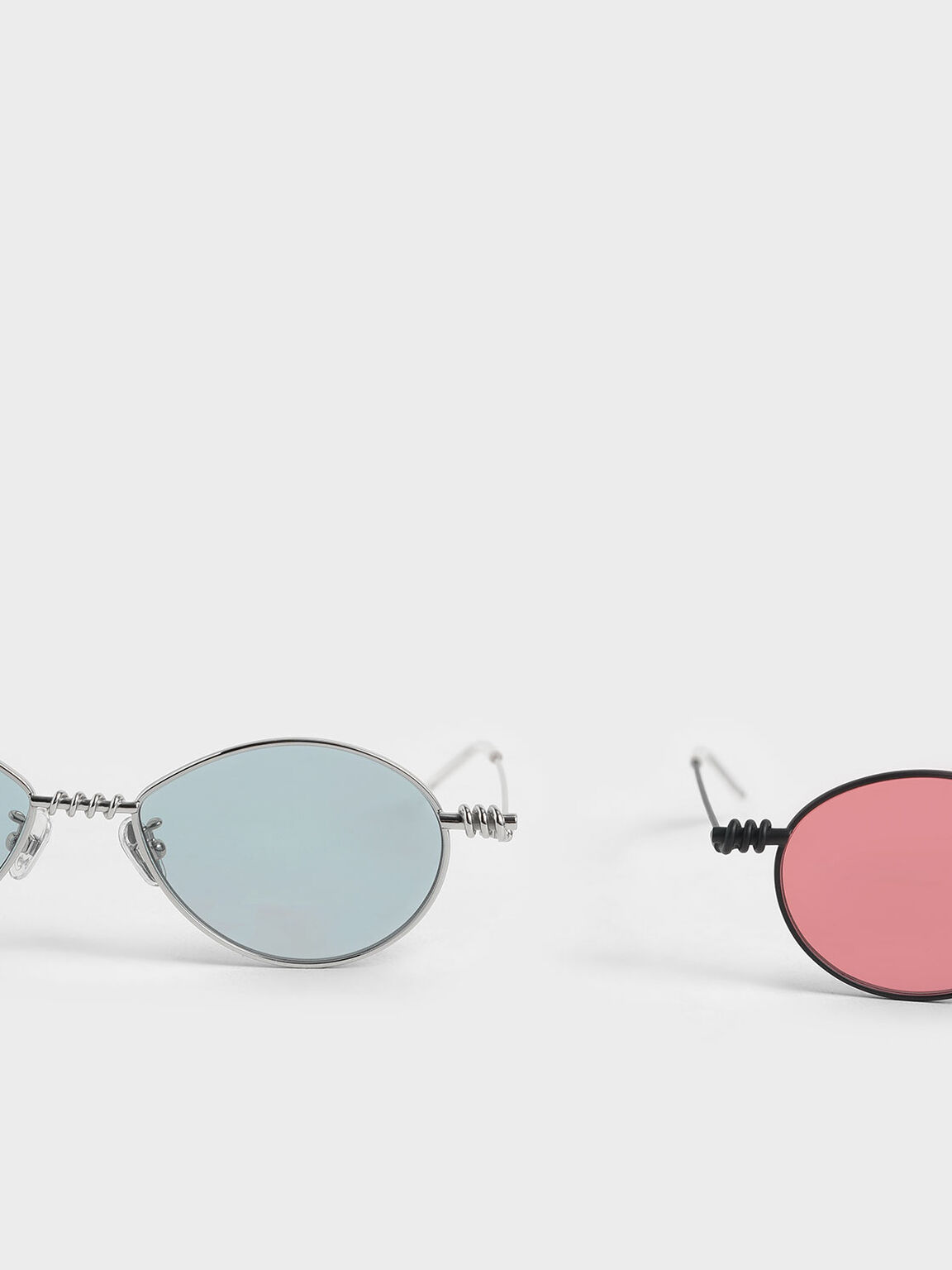 Twine Detail Oval Sunglasses, Blue, hi-res
