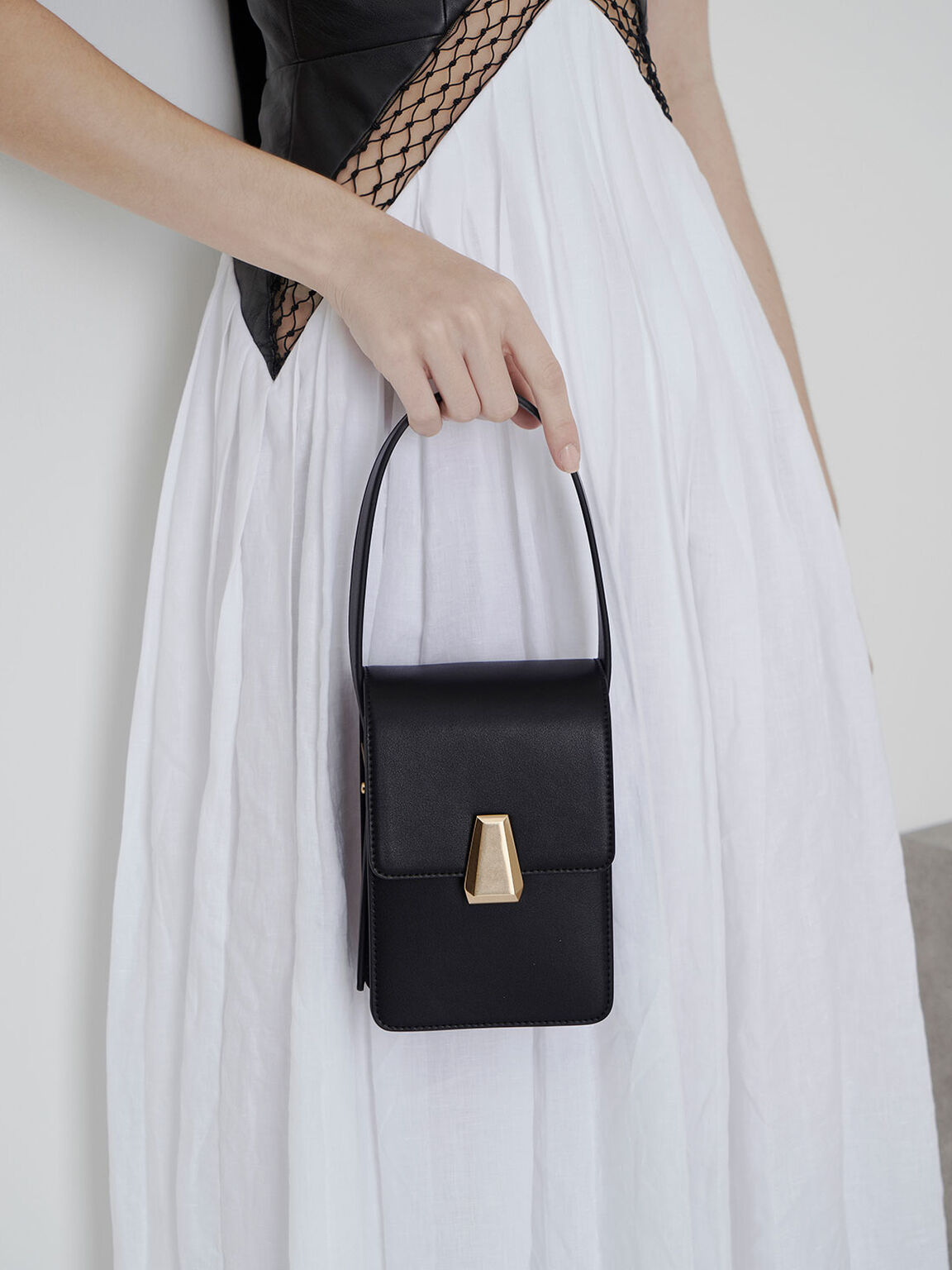 Elongated Front Flap Bag, Black, hi-res