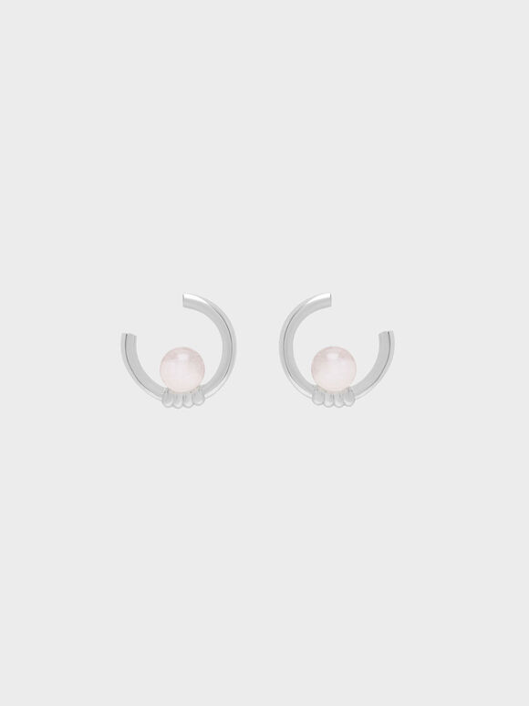 Rose Quartz Stud Earrings, Silver, hi-res