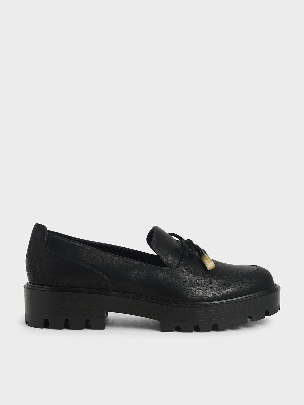 蝴蝶結厚底樂福鞋, 黑色, hi-res