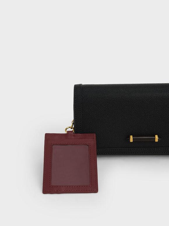 Stone-Embellished Front Flap Long Wallet, Black, hi-res
