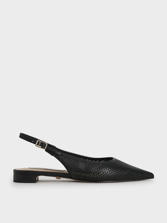 Leather Laser-Cut Slingback Ballerinas, Black, hi-res