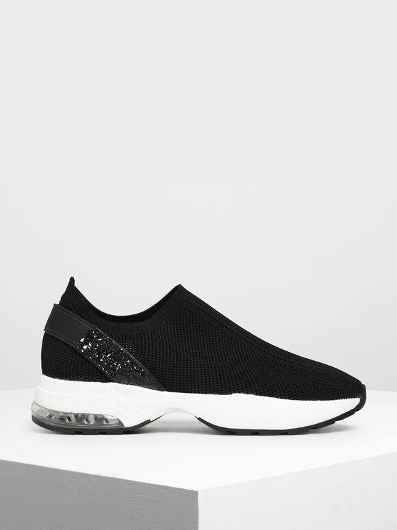 Knitted Sock Slip-On Sneakers, Black, hi-res