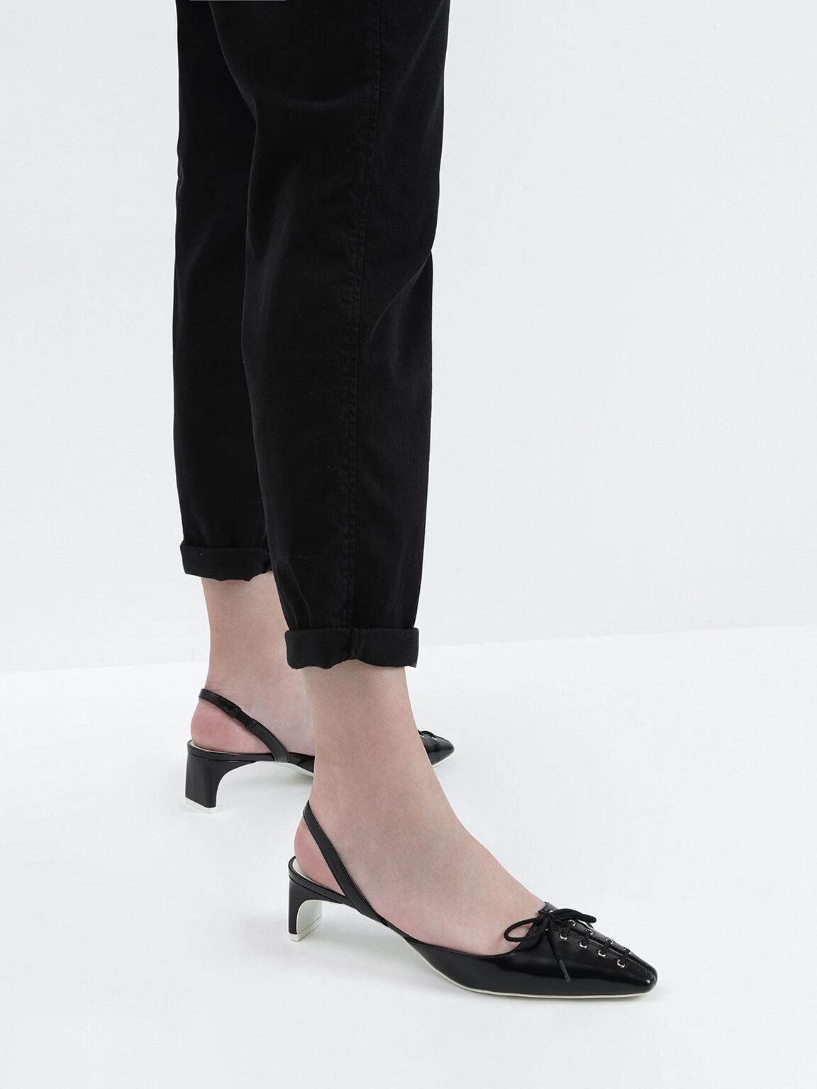 Lace-Up Slingback Heels, Black, hi-res