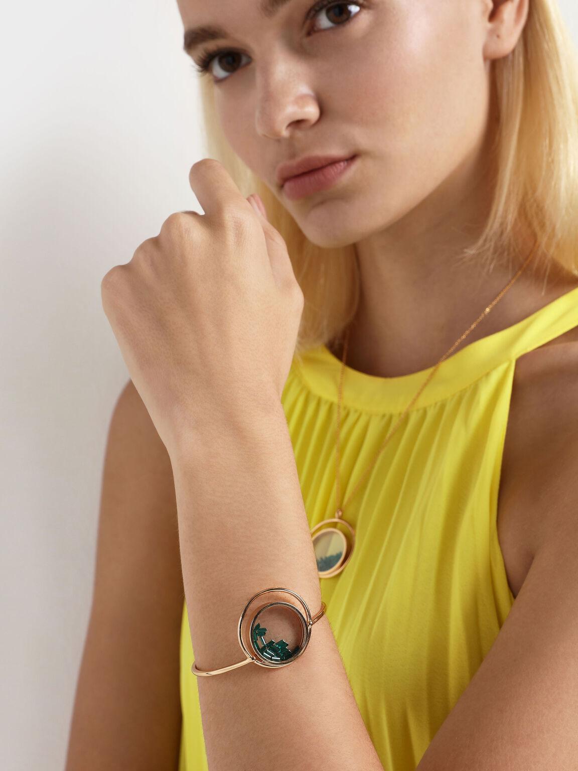 Swarovski® Crystal Emerald Stone Floating Locket Cuff Bracelet, Copper, hi-res