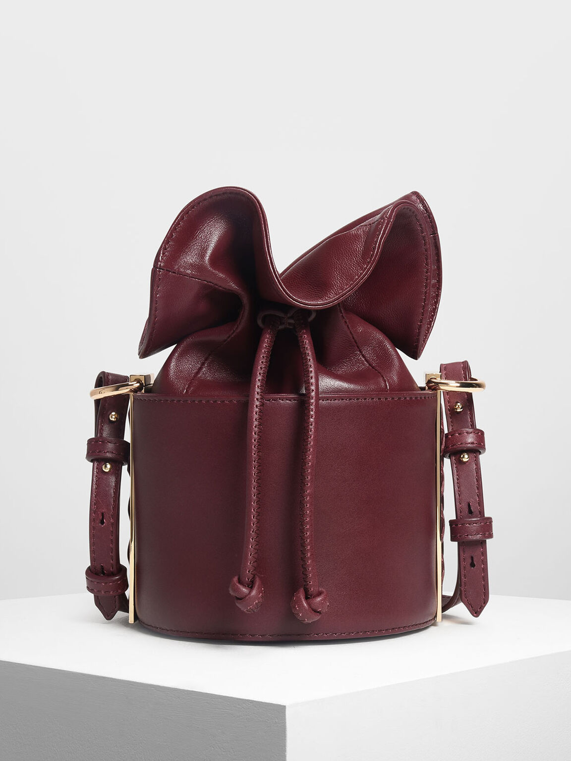 Leather Drawstring Bucket Bag, Burgundy, hi-res