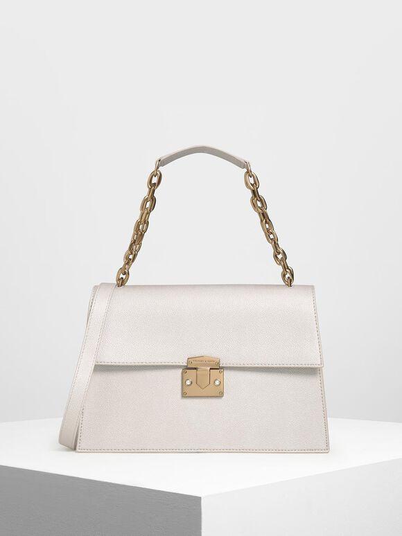Chain Handle Shoulder Bag, Pearl, hi-res