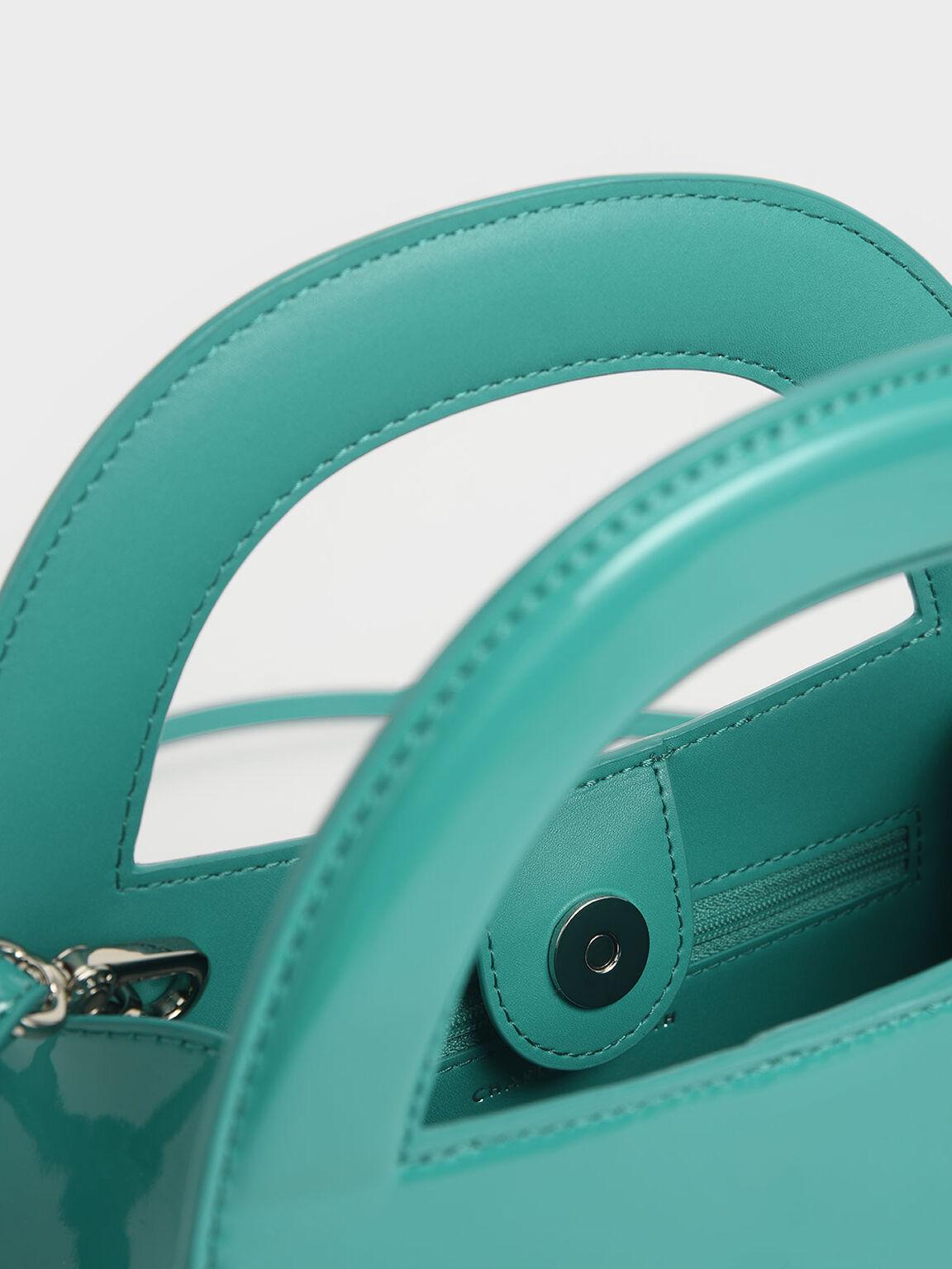 Patent Double Top Handle Handbag, Teal, hi-res