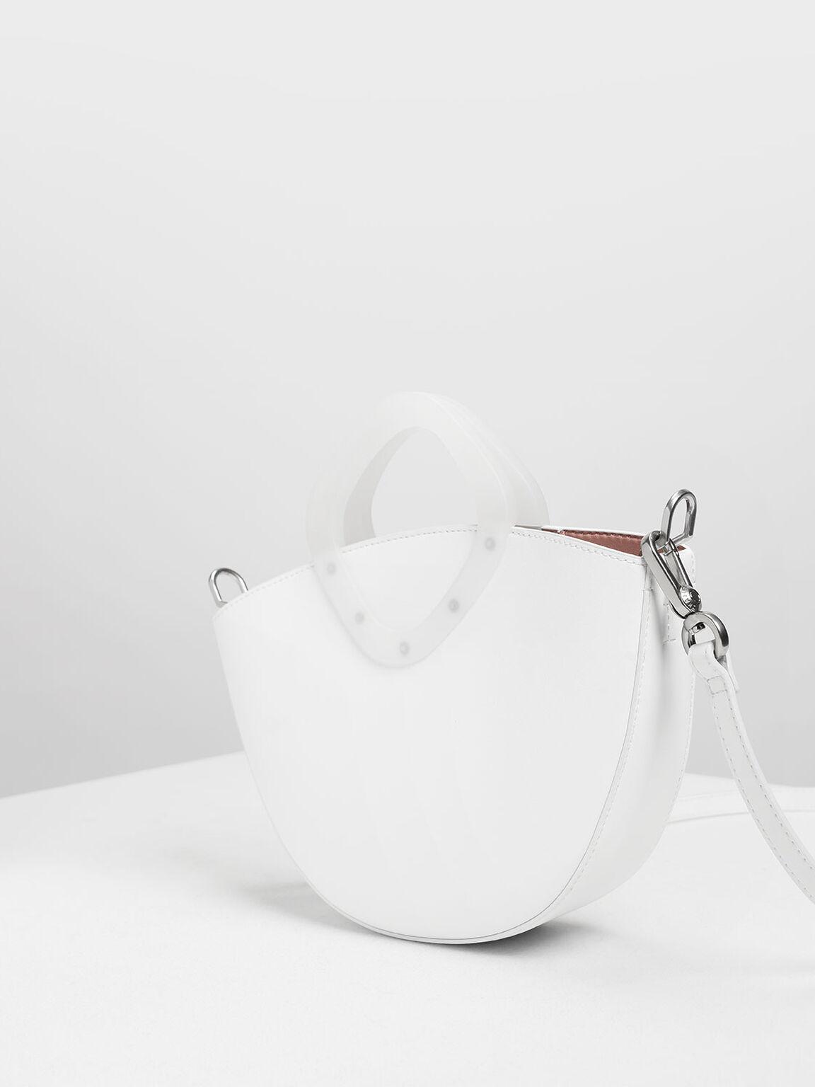 Semi Circle Top Handle Bag, White, hi-res