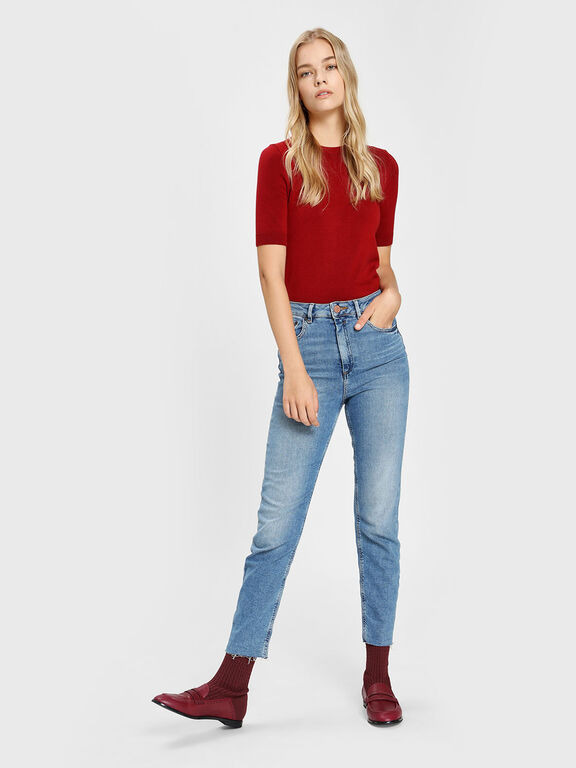 Leather Loafer Effect Sock Boots, Burgundy