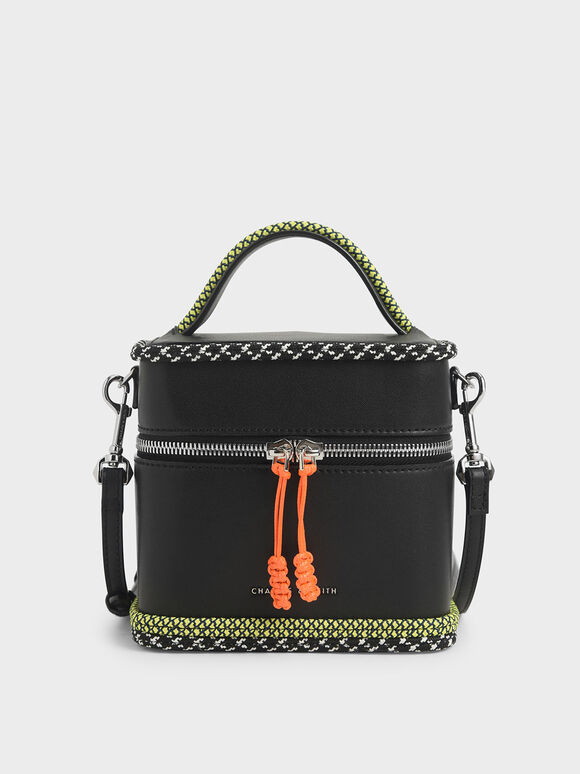 Rope Trim Zip-Around Cylindrical Bag, Black, hi-res