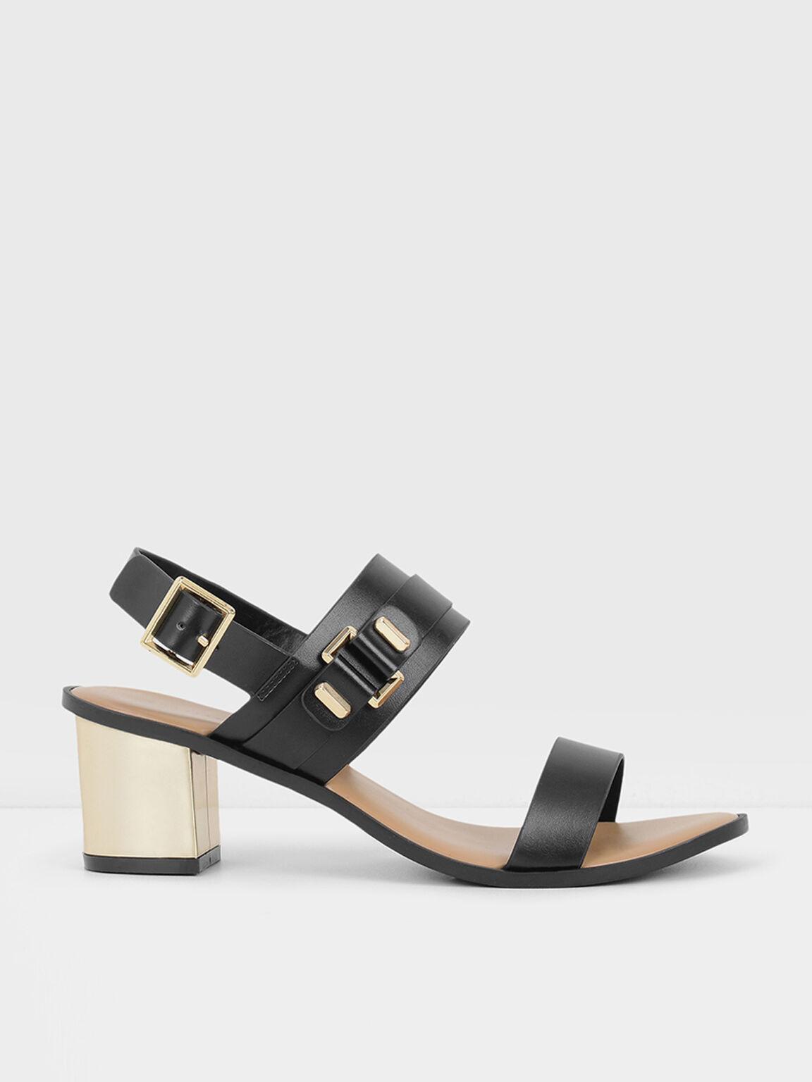 Heeled Sandals, Black, hi-res
