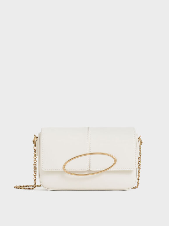 Metallic Ring Shoulder Bag, Cream, hi-res