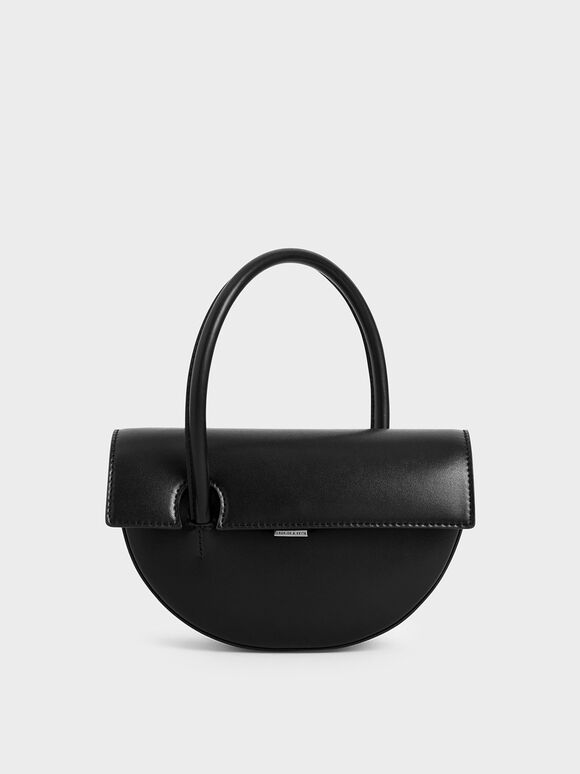 Top Handle Semi-Circle Bag, Black, hi-res