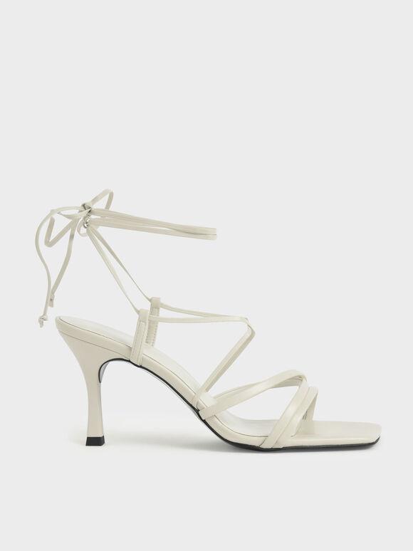 交叉綁帶細跟涼鞋, 石灰白, hi-res