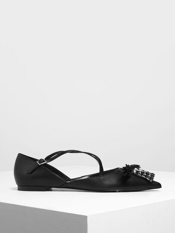 Tassel Criss Cross Ballerina Flats, Black, hi-res