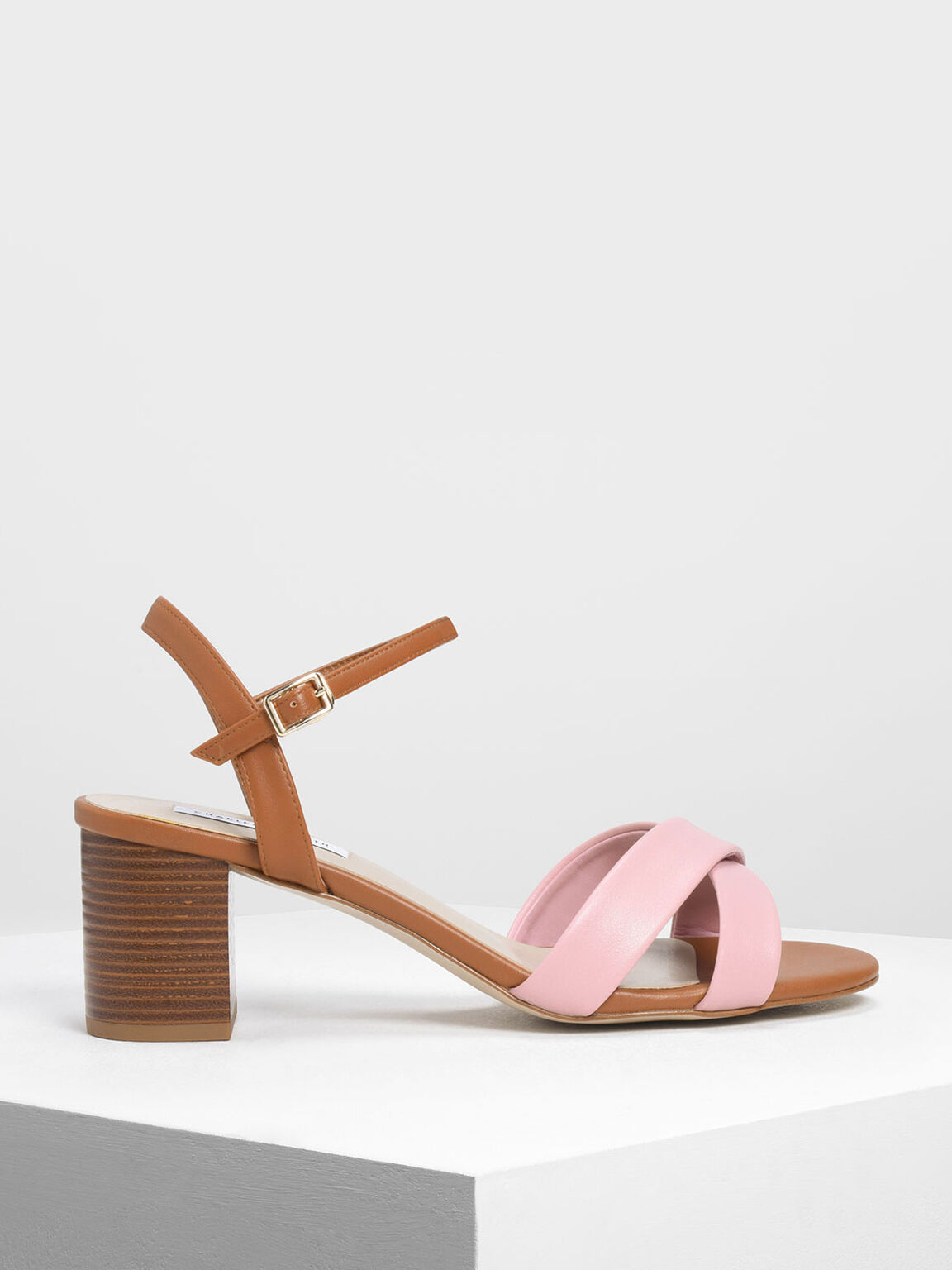 Criss-Cross Two Tone Block Heel Sandals, Pink, hi-res