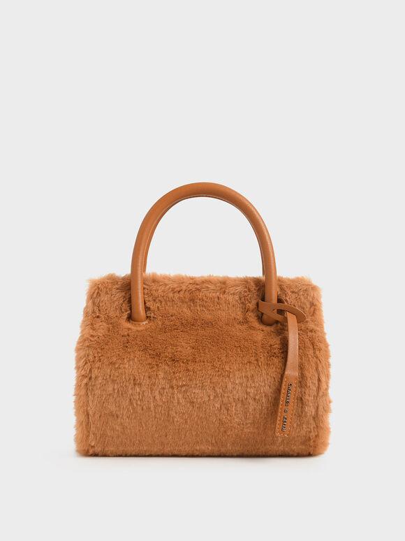 Textured Double Top Handle Bag, Tan, hi-res